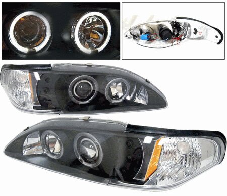 Mustang Ford Mustang 4 Car Option Halo Projector Headlights Black - 1PC - LP-FM94BC-YD