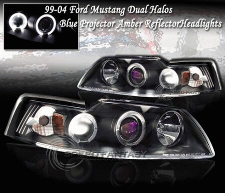 Mustang Euro Black Blue Halo Headlights