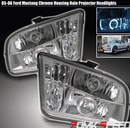 Mustang Euro Chrome Halo Pro Headlights