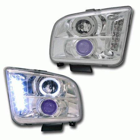 Mustang Chrome Blue Halo Pro Headlights