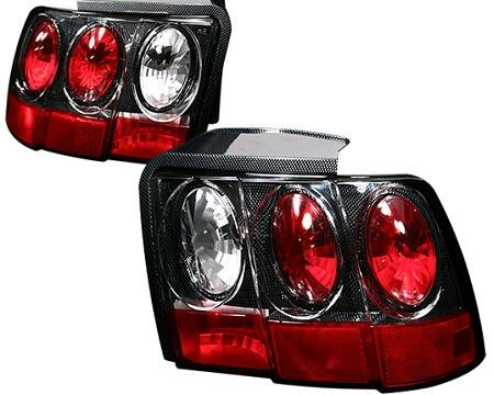 Mustang APC Euro Taillights with Carbon Fiber Housing - Gen 2 Style - 404548TLCF